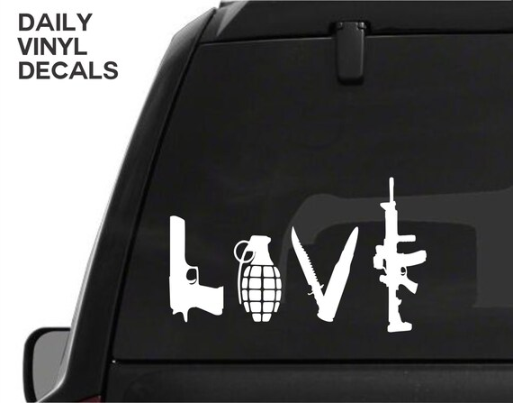 Gun Love Vinyl Decal *Choose Size & Color* Pistol Knife Grenade Rifle Vinyl Sticker Love Weapons Car Truck Decal - Arsenal Gun Safe Decal