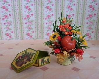 Autumn bouquet in a pot + casket (set). Miniature Dollhouse. 1:12 Scale