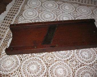 "ANTIQUE CABBAGE CUTTER Beautiful Wood 19"" x 7""..."