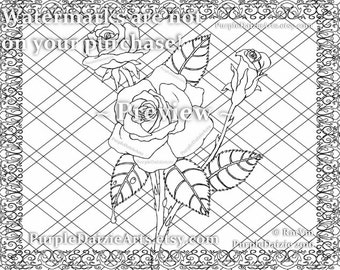 Coloring Page Printable Adult Roses Colour Digital Color Art Sheet Rose Buds Bud Cluster Flowers Line Drawing JPEG File Art Instant Download