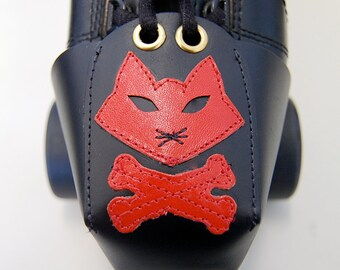 Leather Toe Guards with Red Pirate Cat