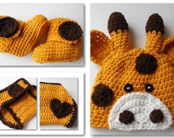 Jirafa bebé Crochet Set - gorro bebé - pañales funda - botines - conjunto - ganchillo hecho a mano - Animal Baby Set - hecho por encargo