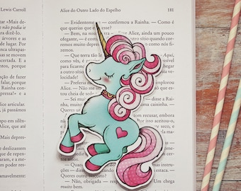 Merry - Blue candy unicorn - bookmark - made to order
