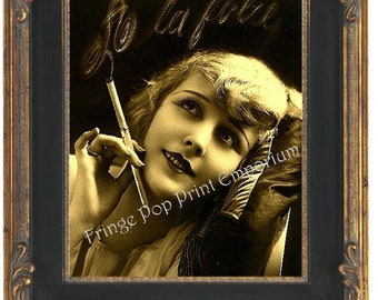 Art Deco Flapper Art Print 8 x 10 - Glamorous Smoking French - Art Nouveau