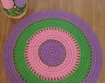 Custom Crochet Floor Rug - 80cm - Three Colours