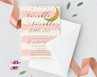 Twinkle Twinkle Little Star Do you Know How Loved You Are - Girl Baby Shower - Pink White Black Gold Glitter - Digital Printable Invitation