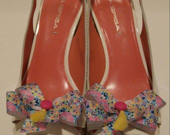 Flowered Lilly fabric inspired besame mucho ribbon shoe bows with hot pink buttons and yellow tassels