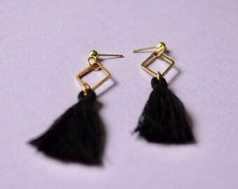 Boho tassel earrings / brass earrings/ diamond shape earrings / black tassel earrings