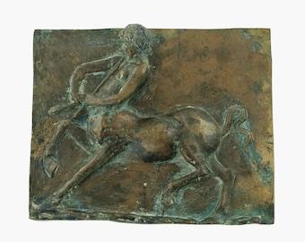 Antique 19th Century Neoclassical Bronze High Relief Plaquette with Centaur Motif