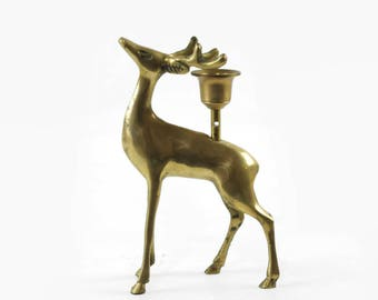 Vintage Brass Deer Candle Holder, Brass Stag, Brass Deer Figurine, Deer with Antlers, Brass Reindeer, Rustic Christmas Decor