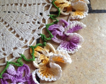 Purple and Yellow Pansy Hand-Crocheted Doily