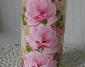 Pillar Candle Hand Painted Pink Roses Vanilla Scented