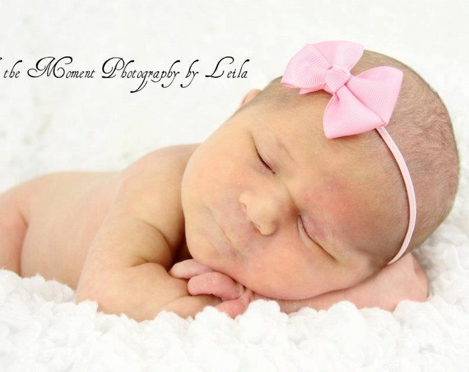 Pink Newborn Headband - 2 in. Bitty Bow on an Elastic Headband - Girls Hair Bows - Baby Headband