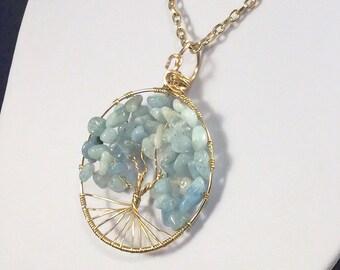 Aquamarine Tree of Life, Customizable Tree of Life, Aquamarine Pendant, Aquamarine Necklace, March Birthstone, March Tree of Life, Boho
