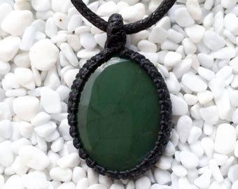 Nephrite Jade Macrame Pendant, Nephrite Jade Pendant