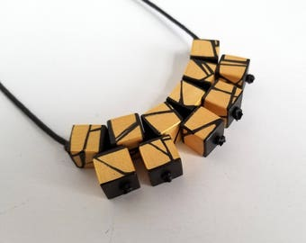Gold Statement Wood Necklace
