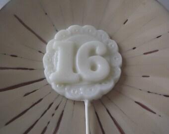 6 Big Sweet 16 Happy Birthday Lollipop Sucker Party Favor