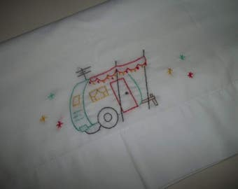 Vintage Travel Trailer Embroidered Pillowcase