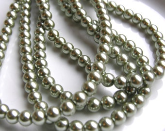Sage Green 8mm Round Glass Pearl Beads   FULL STRAND     SPRING 2011