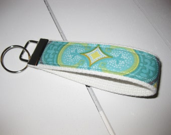 Mint Green Gray White Key Fob / Luggage Tag / Key Chain/ Wristlet