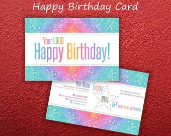 LLR Happy Birthday Card * Home Office Approved Fonts & Colors * Postcard 4x6 * Rainbow Design * Business Cards * Happy Birthday -LLRRW01