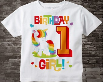 1st Birthday Girl Unicorn Shirt or Onesie Bodysuit, Girl's First Birthday Shirt or One Piece Outfit, Rainbow Unicorn Birthday 08092017a