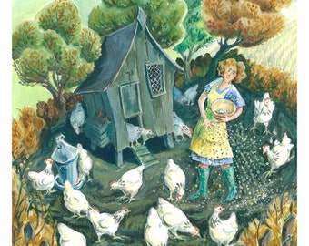 Feeding the Hens print. Painting of chickens. Chickens feeding around their hen house.  Signed limited edition giclee print of my painting.