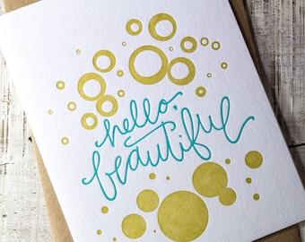 Hello Beautiful Letterpress Card
