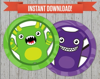 Monster Bash Party Printable Birthday Labels - Editable PDF file - Print at home