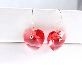 Swarovski Heart Earrings, Crystal Earrings, Red Heart Crystals, Valentines Day, Valentines Gift, Gold Fill, Valentine Jewelry