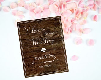 Printable Wedding Welcome Sign, Wood Wedding Sign, Personalized Chic Wedding Poster, Chalkboard Wedding Sign, DIY Printable Reception