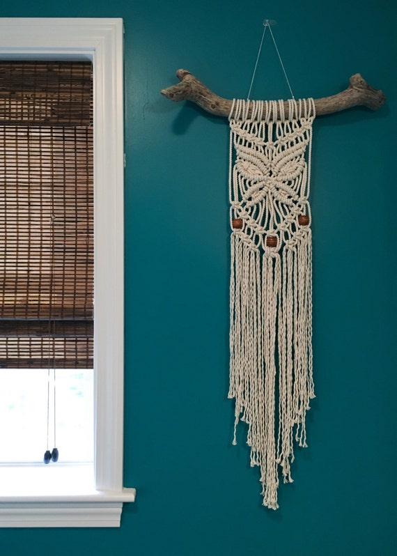 Items Similar To Beaded Butterfly Macrame Wall Hanging On