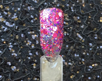 Limerence - Pink Red and Purple Holographic Glitter Valentines Day Nail Polish Top Coat