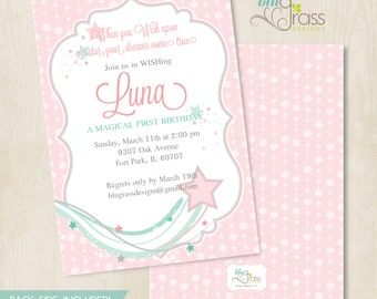 Custom Birthday Party Invitation, Baby Shower Invitation by BluGrass Designs - Make a Wish