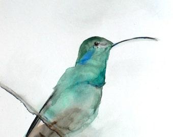 Gift for Her - Hummingbird Art Print - Wall Decor - August - Large 16x20 Print - Hummingbird Watercolor