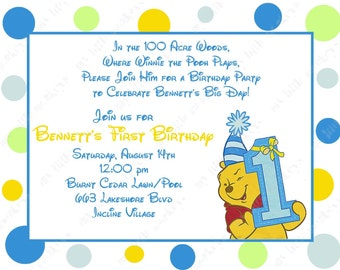 10 Winne the Pooh Boy First Birthday Invitations with Envelopes.  Free Return Address Labels