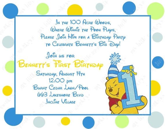 10 winne the pooh boy first birthday invitations with bookmarktalkfo Choice Image