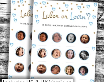 Instant Download* HILARIOUS Baby Shower Game - Blue LABOUR or LOVIN' - Various Packs - Boy, Girl, Unisex