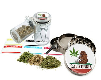 "California Leaf - 2.5"" Zinc Alloy Grinder & 75ml Locking Top Glass Jar Combo Gift Set Item # G50-82515-6"