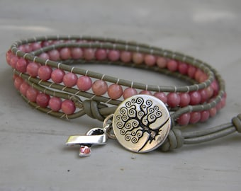 Pink ribbon; breast cancer awareness and support gemstone bead and leather wrap bracelet; breast cancer survivor jewelry; cancer gifts
