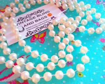 124cm vintage 1980s necklace, 1980s necklace, faux pearl bead necklace, long necklace, vintage necklace, necklace, vintage bead necklace
