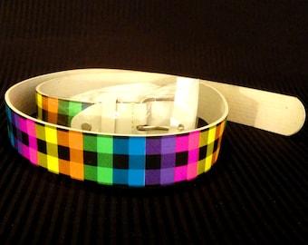 Neon Plaid Belt