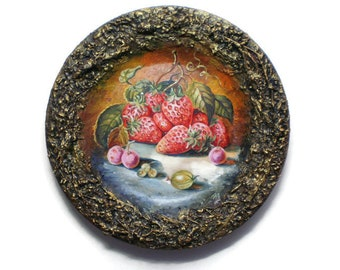 Original Decorative Plate Painting on a plate Hand painted plate Dish on stand Home decor Strawberries OOAK Ceramic art Housewarming gift