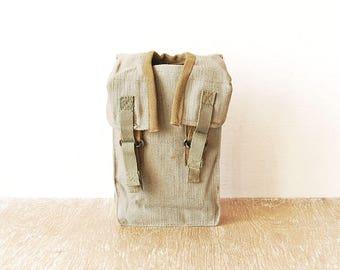 Vintage Military Canvas Waist Bag, Belt Green Canvas Case, Belt Bag, Hip Pouch