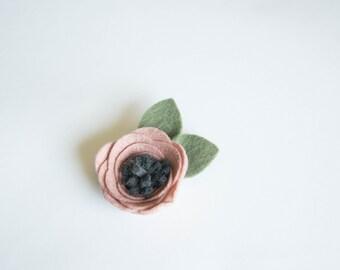Pink and Gray Felt Flower, Clip or Headband, Handmade
