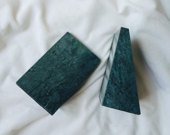 Green Marble Bookends | Vintage Bookends | 80s Home Decor | Marble Bookends