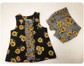 Baby Girl Sundress   Summer Dress   Black with Sunflowers   Gingham   Bloomers   Set   0-3 Month