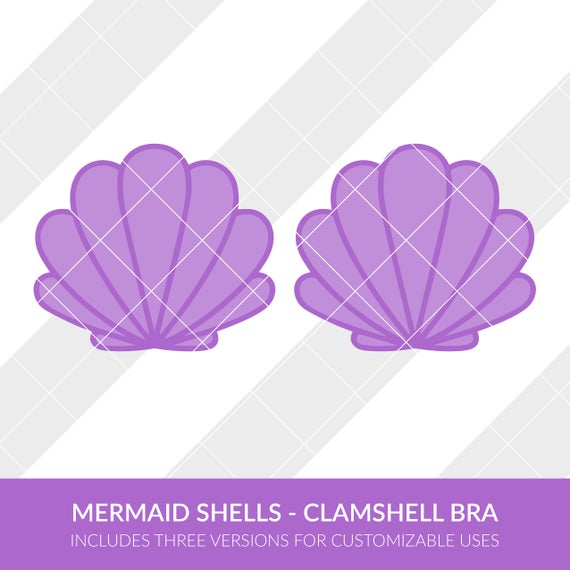 Mermaid Shells Clamshell Bra SVG EPS DXF Silhouette Studio