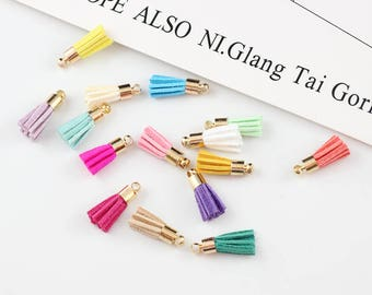 10PCS  1.8CM Leather Tassel Findings With Gold Cap For Jewelry making Diy Bracelet /Cellphone /pendant Finding Diy Tassels