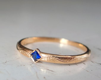 Blue sapphire Gold ring - Bluestone - Square stone ring - Blue - Bridesmaid -